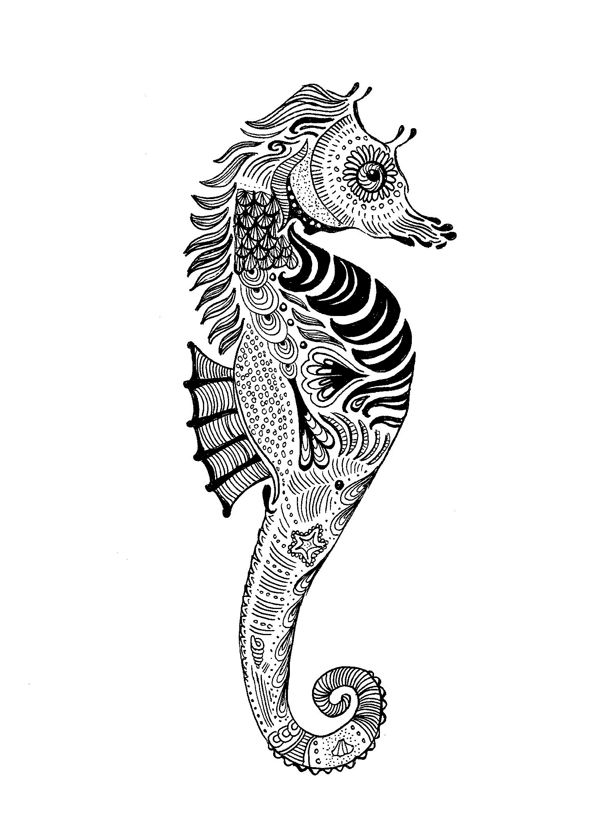 Zentangle Seahorses on Realistic Tropical Fish Clip Art