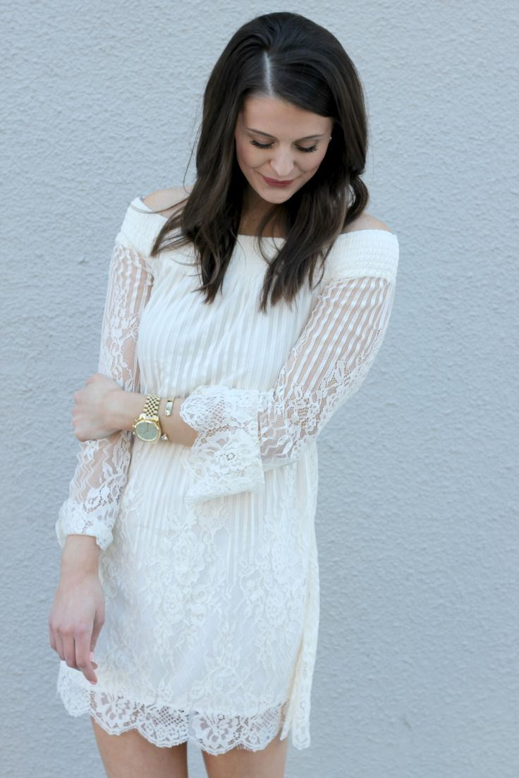 rehersal dinner outfit idea bridal shower outfit idea stripe lace dress courtesy of