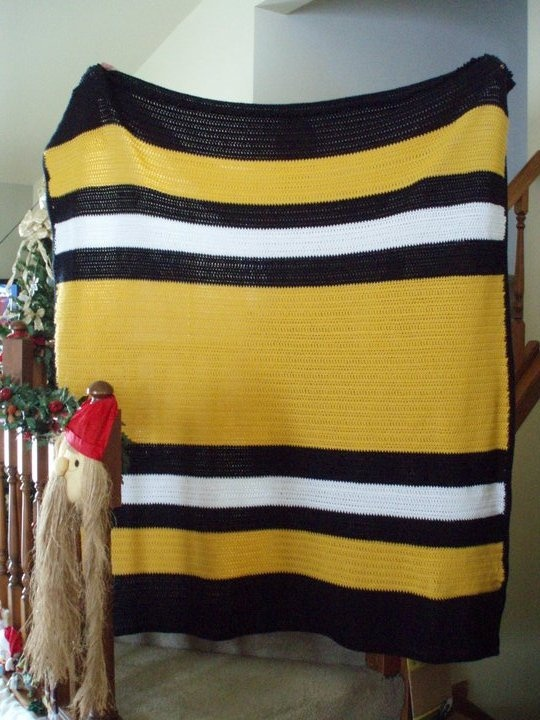HUGE Steelers-themed afghan I made.