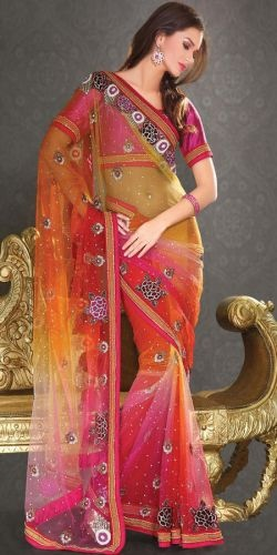 Multicolour Net Saree