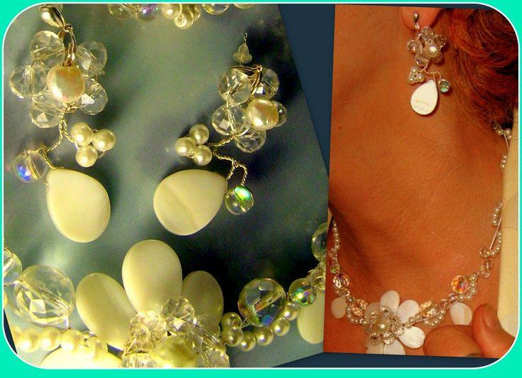 Boucles d'oreilles filigrané, en perle véritable et cristales swarovski…