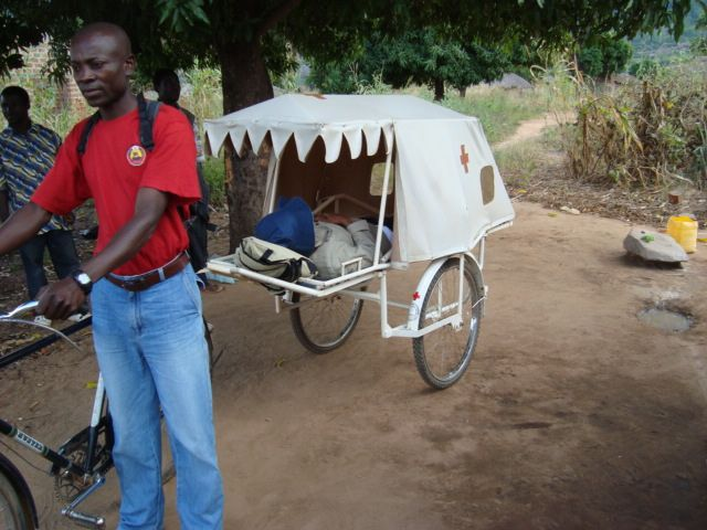 Bicycle ambulances help get women in labour to the clinic or hospital, saving the mother up to 20km of walking.