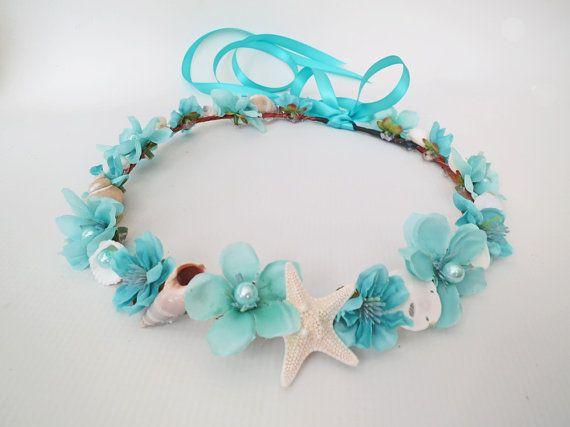 Aqua Sea Wedding Flower Crown-Sea Shell Flower Crown-Beach Wedding Hair Crown-Crown of Sea Shells-Ivory Flower Crown