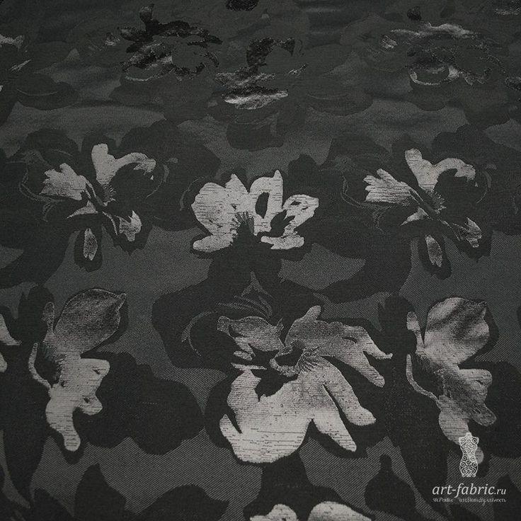 Жаккард Karen Millen (черные цветы) (004466) купить в интернет магазине итальянских тканей по цене 1890 р.