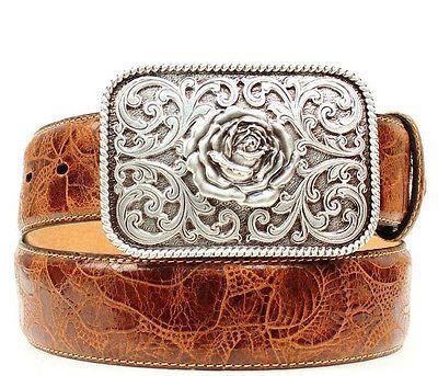 Ariat Women's Western Embossed Leather Belt & Rose Buckle