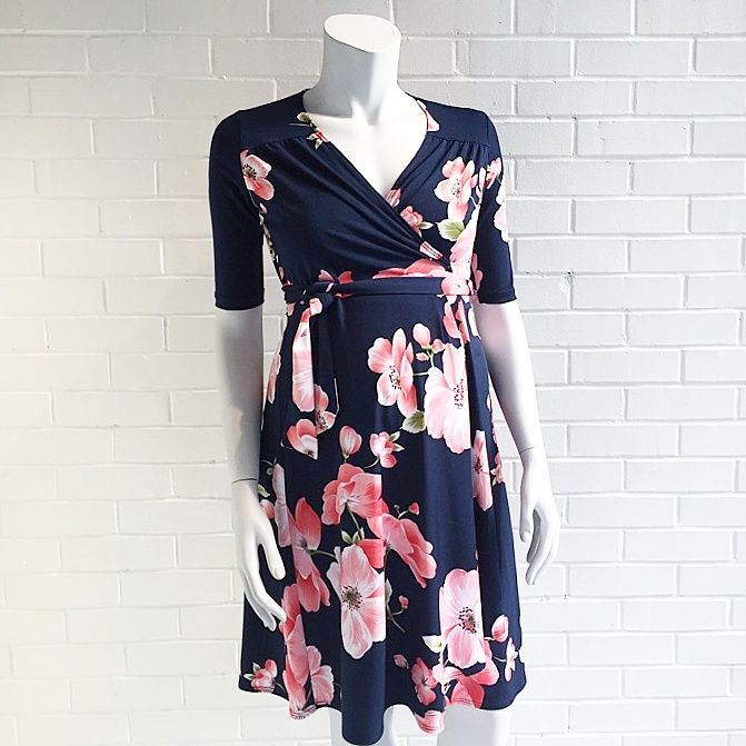 Carry pink floral print wrap dress