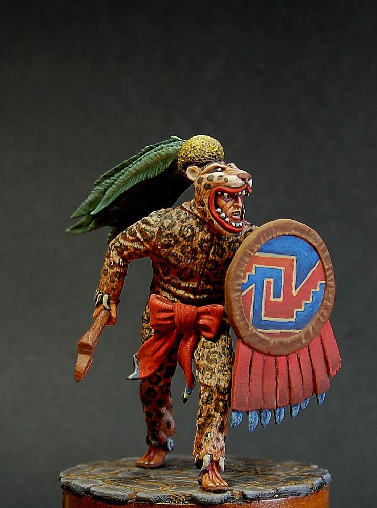 Aztec warrior, 54 mm. Painted by A. Lebedev