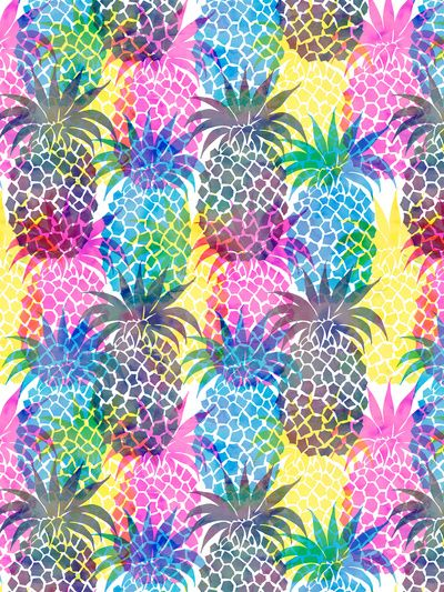 Pineapple CMYK Repeat Art Print  by SchatziBrown #pineapple #tropical
