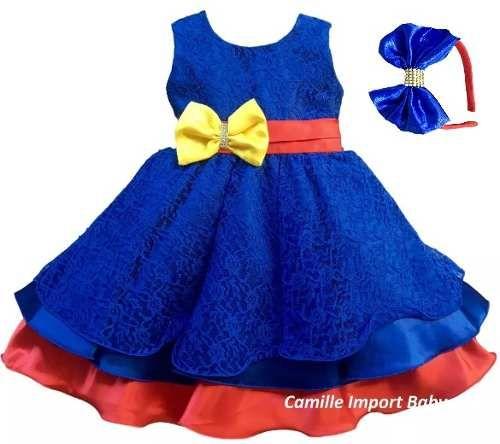vestido de festa infantil luxo show da luna com tiara
