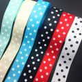 Wholesale 5 Yards 1Inch 25mm Wide Dots Printed Grosgrain Ribbon Hair Bow/Christmas/wedding DIY Sewing Craft #002