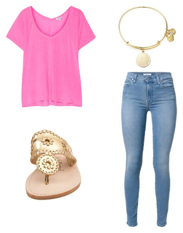 """Pink shirt, blue jeans, Alex and Ani, Jack Rodgers"" by julianak2003 on Polyvore featuring Splendid, Alex and Ani and Jack Rogers"