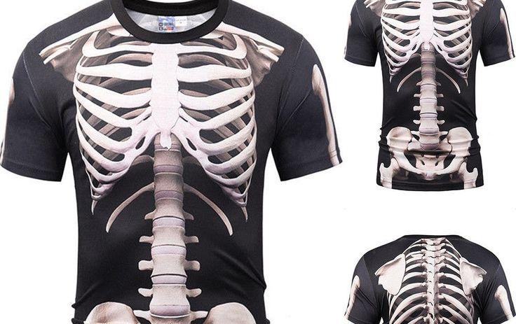 USA Fashion Human Skeleton 3D Print Casual Women/Men's Short Sleeve T-Shirt Tees
