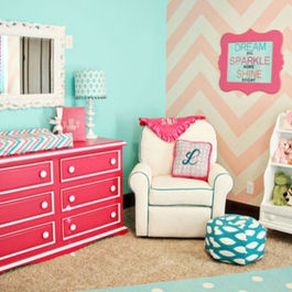 I like the 2 different walls..one chevron, another a solid color..very cute!