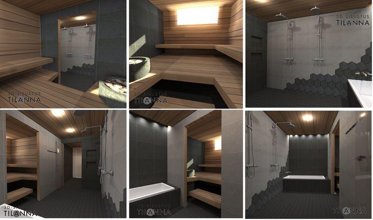 3D - sisustussuunnittelu /harmaa pesuhuone ja sauna, tummaharmaa-vaaleaharmaa laattayhdistelmä, kuusikulmainen laatta epäsymmetrisesti ladottuna, lämpökäsitelty haapa, bathroom / 3D-sisustus Tilanna, sisustussuunnittelija Jyväskylä