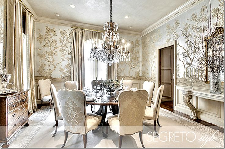 Richard Coleman designed this dining room using beautiful Gracie wallpaper.                                                                                                                                                                                 More