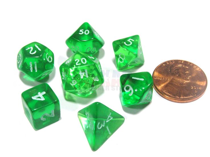 These small transparent dice look, feel, and roll well and will be a great addition to any game or collection. These cute little dice read from the top for easy comprehension. Sharp edges allow for easy shape recognition and the numbers are about as large as possible on each face. This polyhedral set contains one D20, one D12, two D10 (00-90 and 0-9), one D8, one D6, and one D4. Dice come in a clam-shell retail package.  See image to compare the size of these dice to a penny. Dice are…