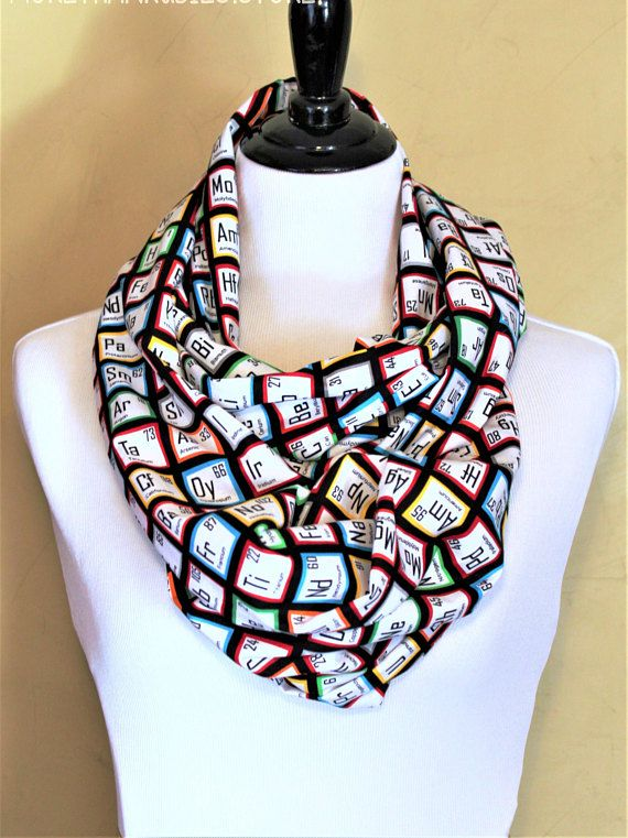 This infinity scarf featuring the periodic table of elements makes a great gift for anyone who loves science and looking great! This multi-colored, 100% cotton broadcloth scarf is machine washable on the gentle cycle and can be ironed if necessary. Sizing: Single Loop-