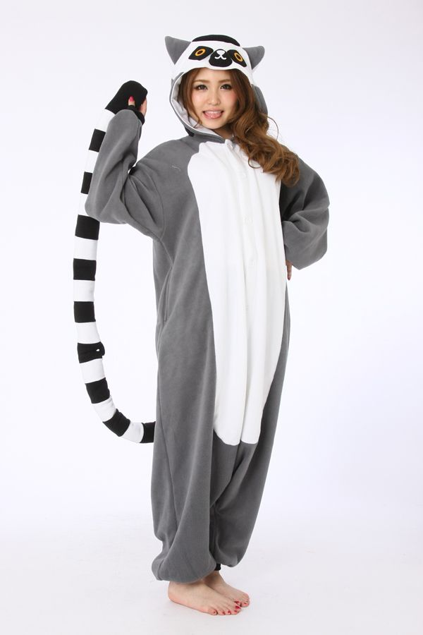 Lemur Onesie!!!!!!!  Quick Overview Lemur catta Kigurumi Animal costumes, ring-tailed Lemur, primitive primates, long kiss, both eyes sideways like fox, the tail has a link, also known as JieWei lemurs. Habitat for more than 5-20 groups, more stone less tree dry areas, each have their own areas. Good jumping to climb.  Haha!