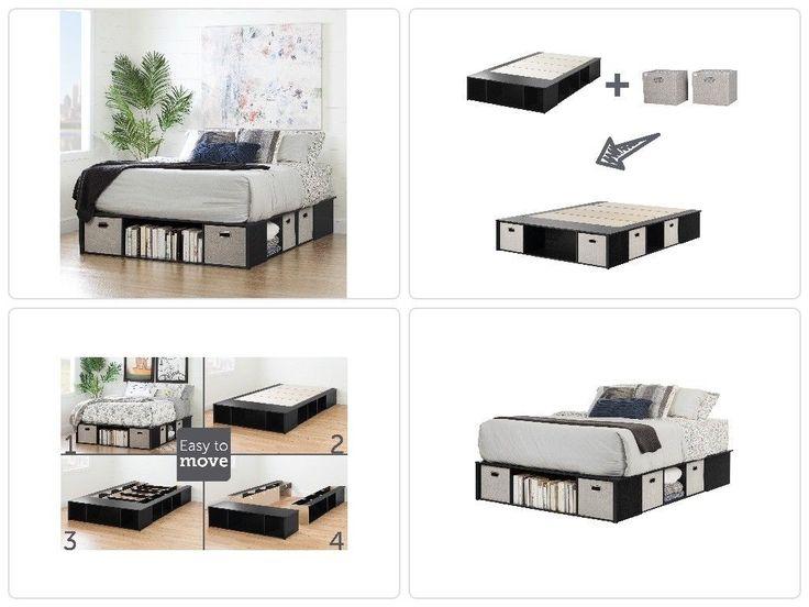 Queen Size Platform Bed Storage Baskets Plat Form Bedroom Furniture Organizer