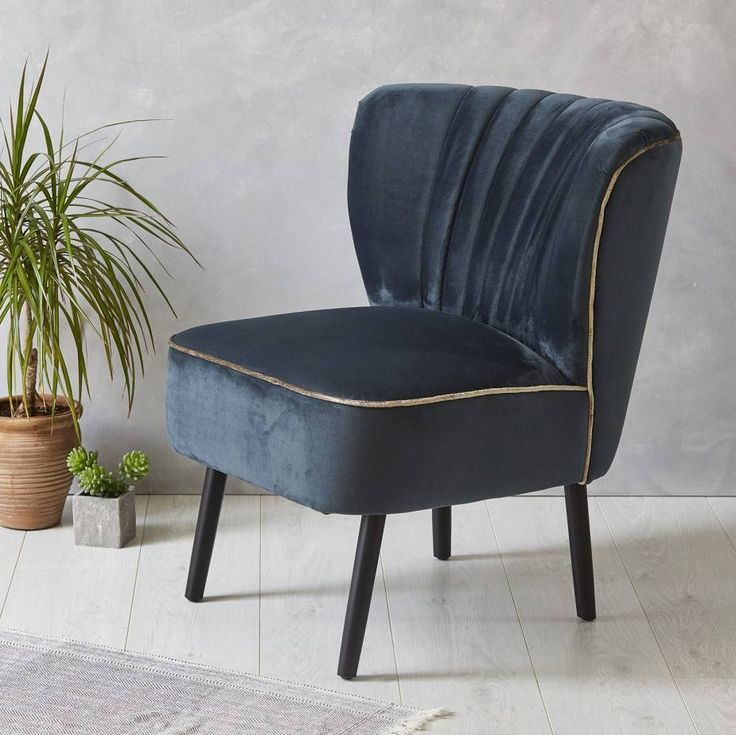 This Blue Velvet Cocktail chair is exactly what I've been looking for to give a luxury vintage edge to an otherwise modern bedroom.