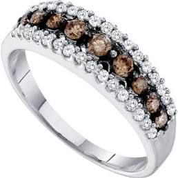Our 20 th anniversary rings! Men's or Women's White and Brown Diamond 0.50CTW 10K White Gold Wedding Band GND58473