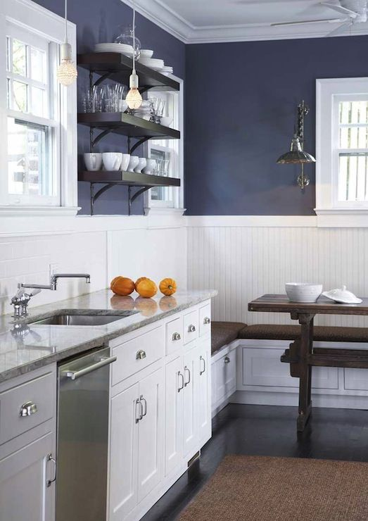 TerraCotta Properties - kitchens - navy blue, walls, chair rail, beadboard, built-in, storage, banquette, trestle, dining table, chunky, shelves, iron, brackets, white, kitchen cabinets, marble, countertops, beadboard backsplash, beadboard kitchen, kitchen beadboard, white beadboard, white beadboard backsplash, beadboard kitchen walls,