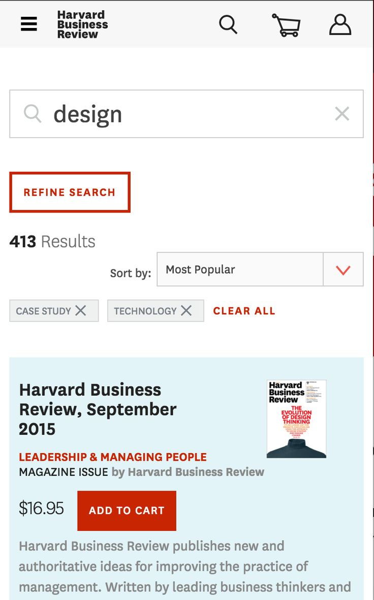 "When there are 2 or more refinements to HBR's search results, they show a ""Clear all"" button."