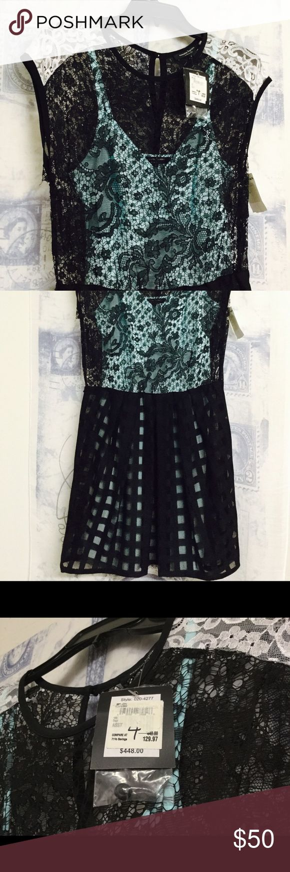 Nanette Lepore Just Dance Dress Dress is made of a black lace overlay and a detachable light blue silk slip. No belt included. Bought new, never worn. Smoke free, pet free home. Time to go to a new home! Nanette Lepore Dresses