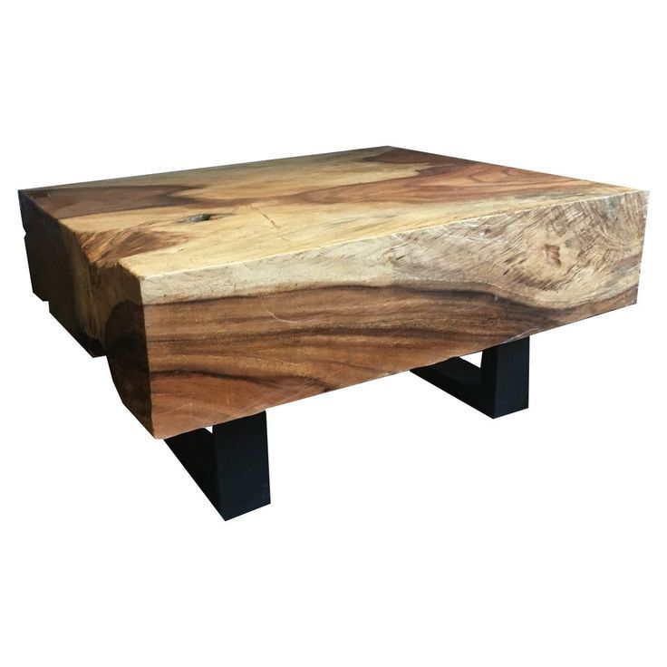 30 Inch By 37 Inch Thick Slab Acacia Wood Coffee Table On Black