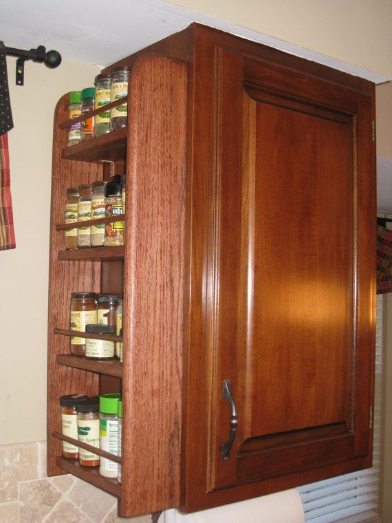 4 Shelf Wood Spice Rack for Cabinet End by woodcraftersmissouri