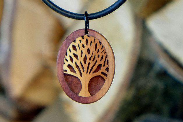 Holzanhänger - Baum Holzschmuck Handgemacht Anhänger Kunst - ein Designerstück von intarsia108 bei DaWanda