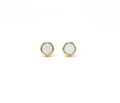 Lover's Tempo Swarovski Stud Earrings - White Opal