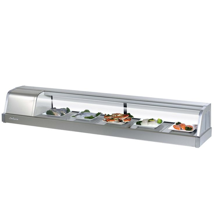 """Turbo Air Sakura-70 70"""" Stainless Steel Curved Glass Refrigerated Sushi Case - 2.1 Cu. Ft."""