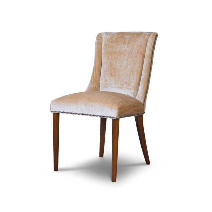Calypso Dining Chair in Como Silk Velvet - Biscuit