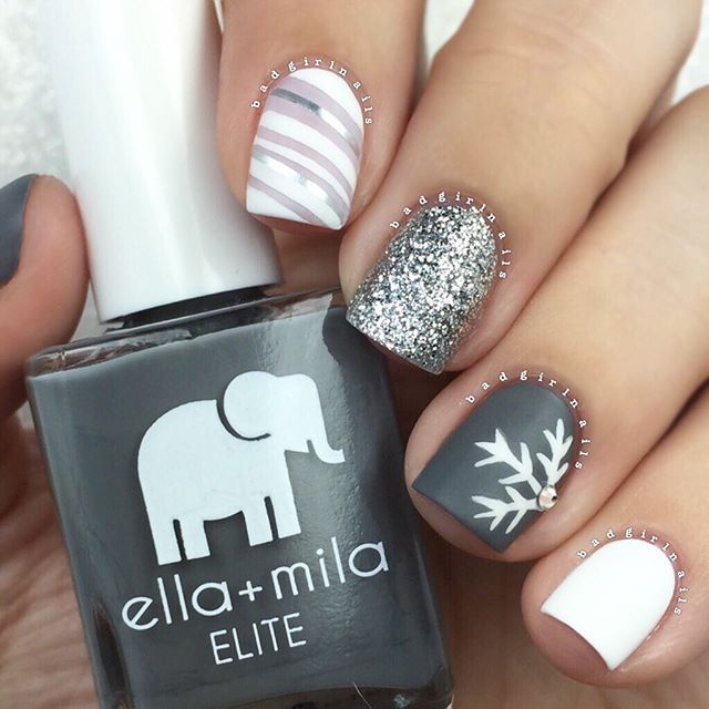 After flirting with glittah all week, I'm back at it again with the matte mix & match #matteisbae #truelove Snowflake skittle mani inspired by the very talented @nailsbyly Featuring all @ellamilapolish: ▪️White: Pure Love ▪️Silver Glitter: On Thin Ice ▪️Grey: On The Runway ▪️Sheer Nude: Pretty In Pink ▪️Matte Topcoat: Matte-ly In Love