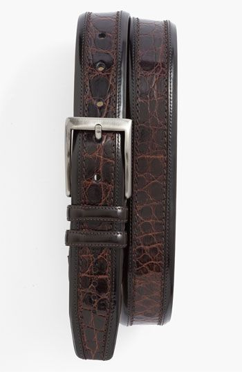 Mezlan Crocodile Belt.  Conspicuously scaled crocodile leather textures an exotic belt with polished hardware.