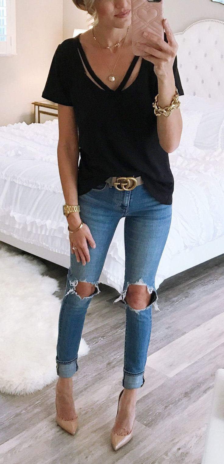 summer outfits Obsessed With This T Shirt! I Wore It Running Around With Matt And The Kids With Shorts And Sandals (I Linked My Sandals) And Then Put On My Favorite Jeans, Belt And Heels For Dinner. It Come In 4 Colors And Is Only $25. I Am Wearing Xxs. #jeansandtshirt