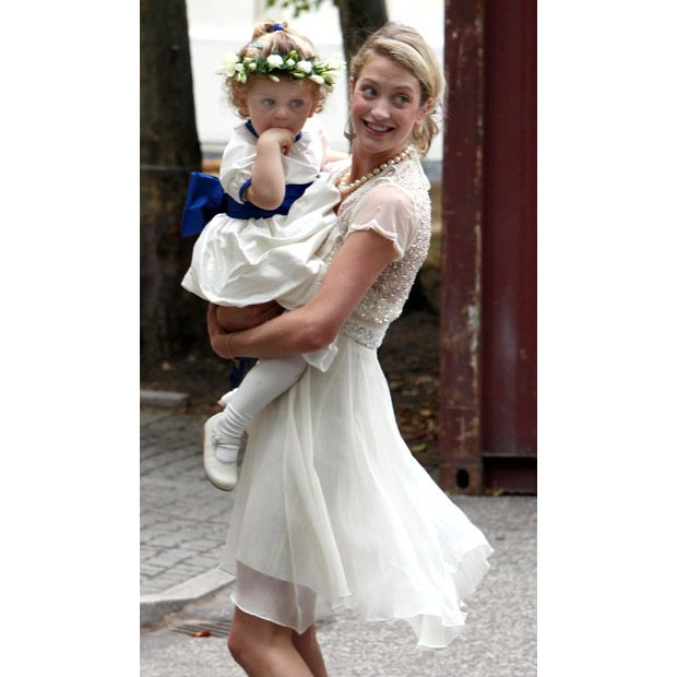 William's goddaughter Grace Van Cutsem, 3, pictured with her mother Rose Astor.
