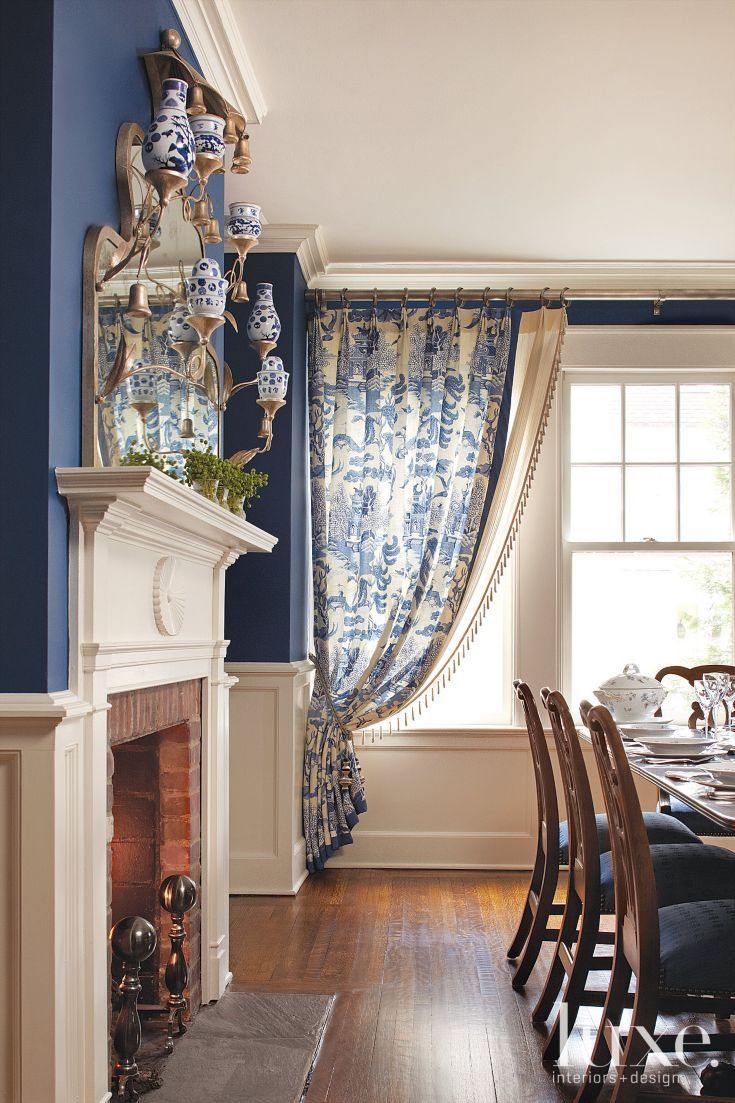 Wainscoting formal dining room - Traditional Blue Dining Room With Wainscoting