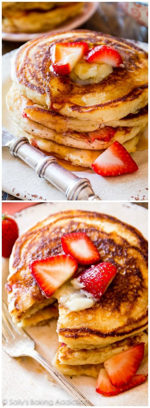 Strawberry Buttermilk Pancakes with Honey Butter - The fluffiest buttermilk pancakes! Tastes just like a stack of diner pancakes!