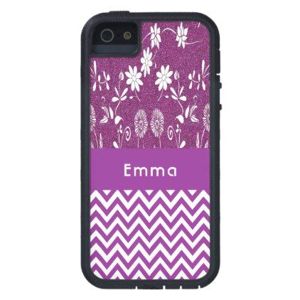 Girly purple chevron zigzag cute flowers glitter iPhone SE/5/5s case - modern gifts cyo gift ideas personalize