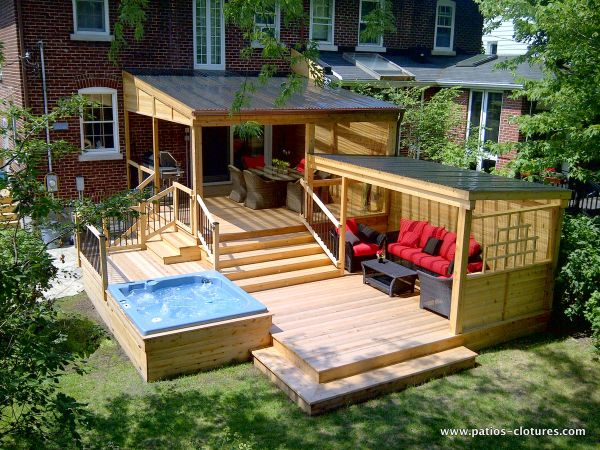 Pergola abrit e patio en bois proulx id es am nagement for Patio exterieur arriere