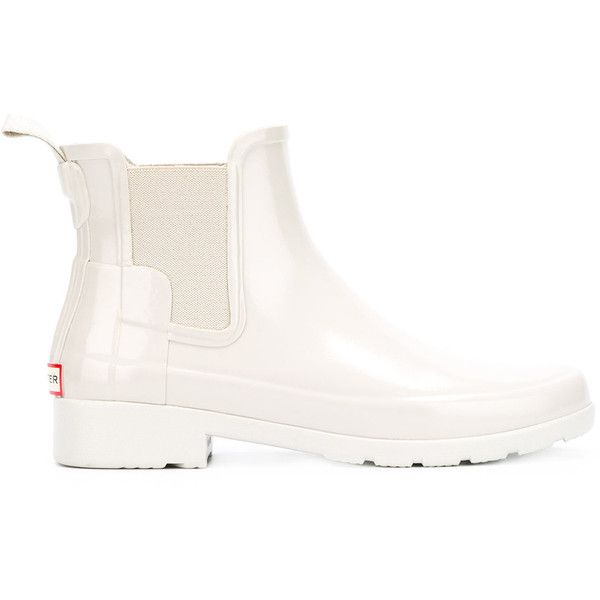 Hunter slip-on ankle boots ($120) ❤ liked on Polyvore featuring shoes, boots, ankle booties, white, white ankle booties, white short boots, bootie boots, white boots and hunter boots