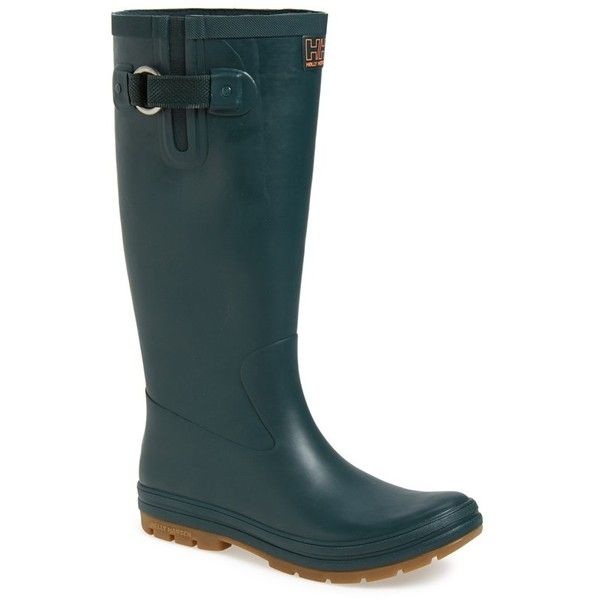 "Helly Hansen 'Veierland' Rain Boot, 1"" heel ($80) ❤ liked on Polyvore featuring shoes, boots, mid-calf boots, tall boots, mid calf low heel boots, rubber boots, mid boots and wellies boots"