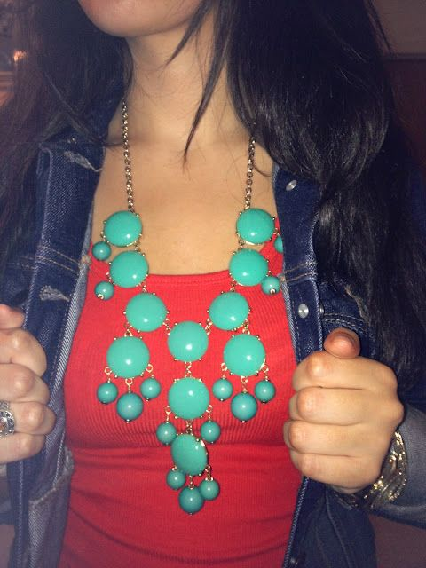 red and turquoise bubble necklace.