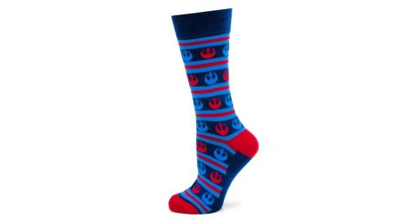 Rebel Stripe Navy Socks    Lux Gifts and Goods is pleased to offer a wide variety of cufflinks and men's socks and neck ties from Cufflinks Inc.  These navy striped Star Wars socks feature red and blue Rebel symbols.      One size fits most (up to men's 12)  Made of 62% J
