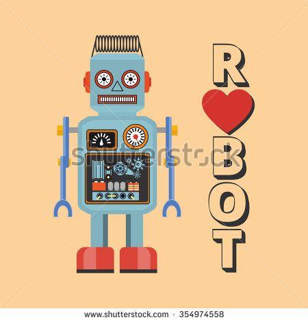 Retro robot. Vintage robot. Robot With Heart. Hipster vintage robot.  - stock vector
