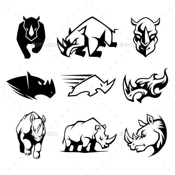9 different rhinoceros vector cartoon symbol. Vector EPS10