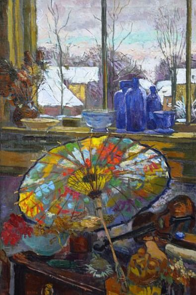 Elizabeth Pijpers Still Life with Parasol by the Window 20th century