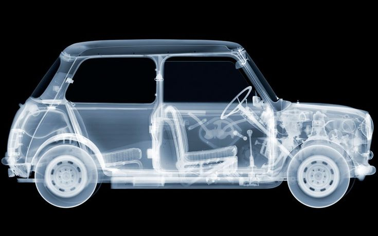 Mini. Nick says: A very complicated image to achieve. Each component was x-rayed separately and then assembled with the help of a repair manual. The Mini is a British icon and a classic design that should be lauded.